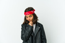 Young Latin Rocker Woman Isola...