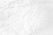 White And Gray Crumpled Paper Texture Background. Crush Paper So That It Becomes Creased And Wrinkled.