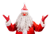 Santa Claus With Clown Nose An...