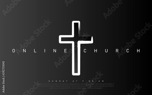 Vector Online Church banner Fototapete