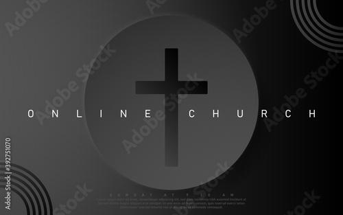 Fototapeta Vector Online Church banner. Worship Jesus. Church live event. Black background obraz