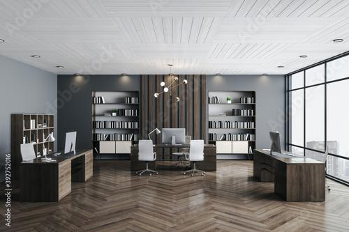 Fototapeta Modern ceo office interior with computers obraz na płótnie