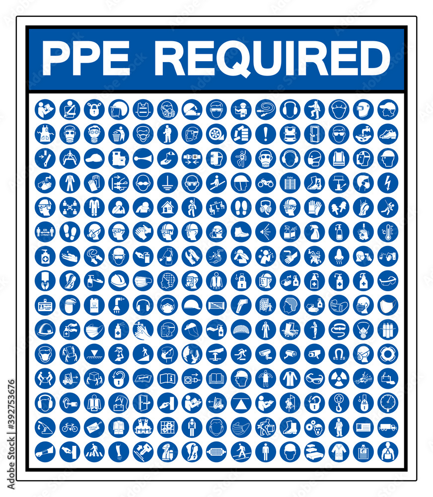 Fototapeta Set Of PPE Required Symbol Sign, Vector Illustration, Isolated On White Background Label .EPS10