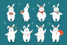 Christmas Rabbit Cartoon Set. ...