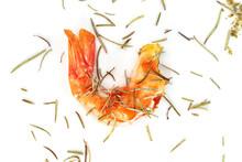 Roasted Peeled Prawn With Dry Rosemary Isolated On White Background ,grilled Shrimp