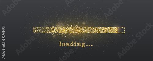 Loading progress bar. Golden glittering dust on black background. Vector illustration.