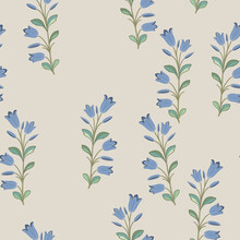 Seamless Floral Pattern With Blooming Branches Of Bluebell Flower. Folk Style.