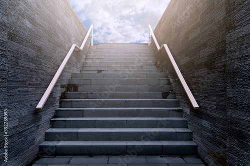 Front view architecture of staircase rises to the sky. Stairway to heaven - Outdoor modern architecture