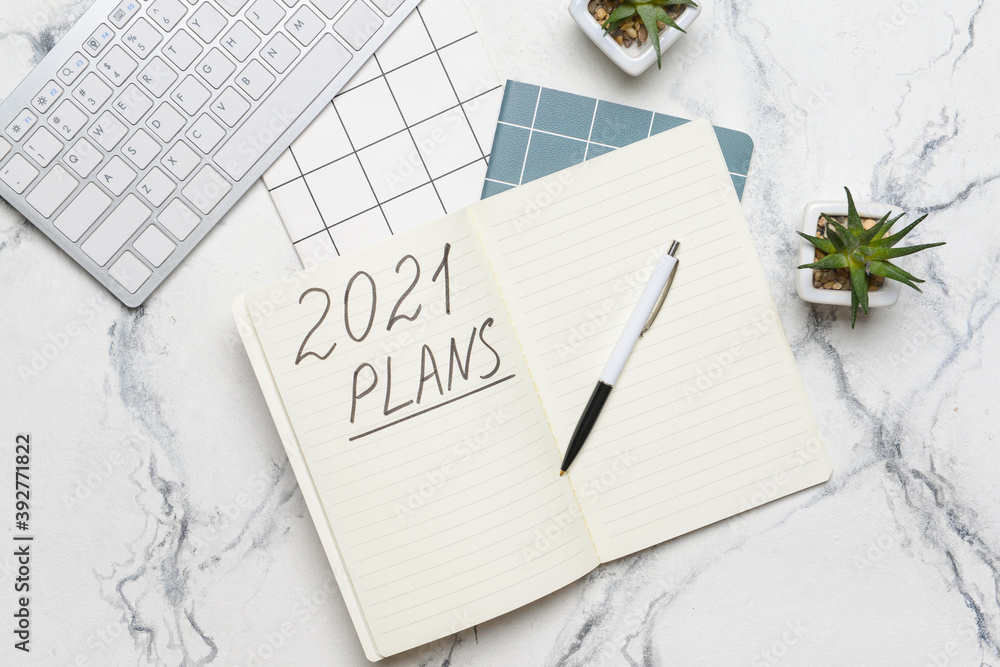 Fototapeta To do list on 2021 year with computer on white background