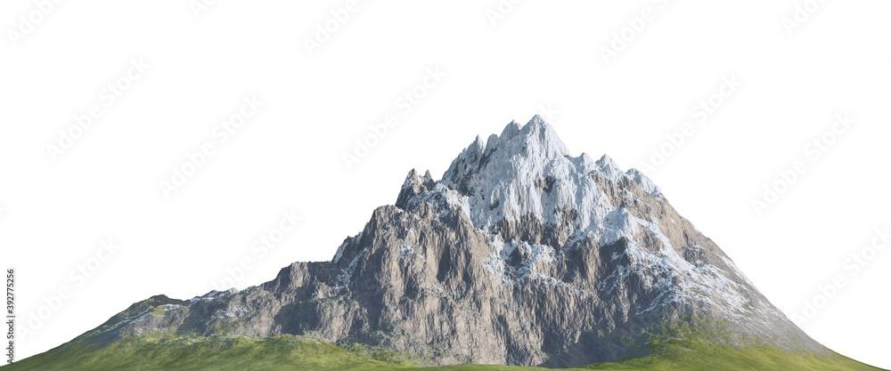 Fototapeta Snowy mountains Isolate on white background 3d illustration