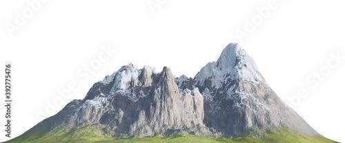 Fotografie, Obraz Snowy mountains Isolate on white background 3d illustration