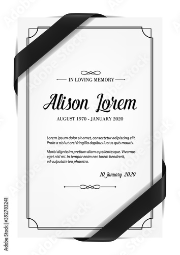 Fototapeta Funerary card with obituary condolence and mourning ribbon. Obituary card layout, mortuary plate vector template, sepulchral plaque with in memoriam necrologue and black silk ribbon over corners obraz
