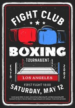 Fighting Club Event Retro Poster. Boxing Tournament, Martial Arts Fighters Competition Vintage Promotion Flyer Or Invitation Leaflet Design Template. Boxing Ring And Fighters Gloves Vector