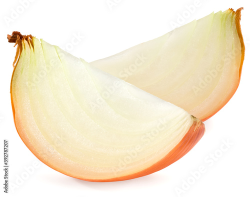 Fotografiet cut of onion isolated on white background