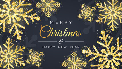 Christmas background with shining golden snowflakes and snow. Merry Christmas card illustration on black background. Sparkling golden snowflakes with glitter texture. Vector illustration