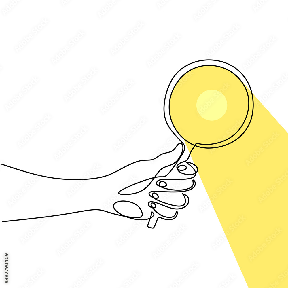 Fototapeta Hand holding magnifying glass one line drawing vector illustration continuous single hand drawn. Magnifying glass with reflected sunlight. The concept of theory of science with minimalist design