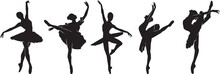 Ballerina Silhouette Doing Ballet Dance In Various Poses