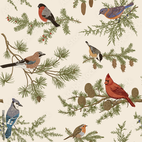 Obraz na plátně Vintage vector seamless pattern