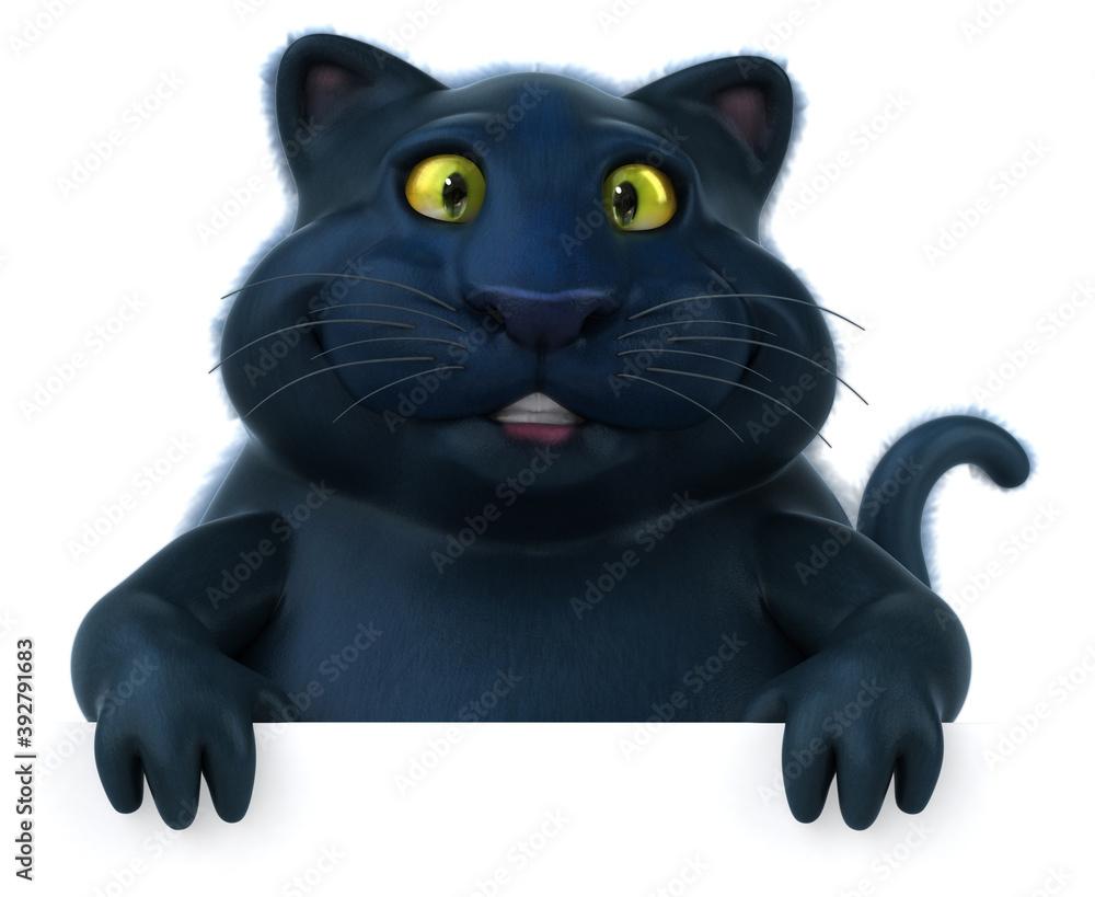 Fototapeta Black cat - 3D Illustration