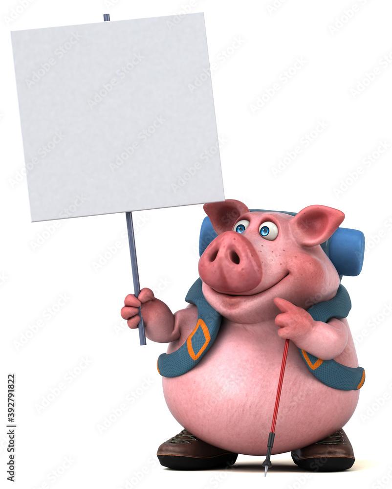 Fototapeta Fun backpacker pig cartoon character