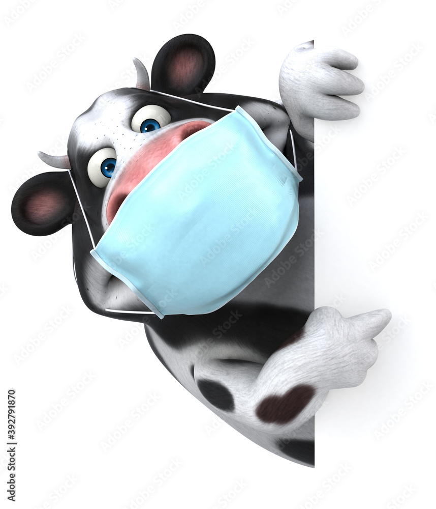 Fototapeta Fun 3D cartoon cow with a mask