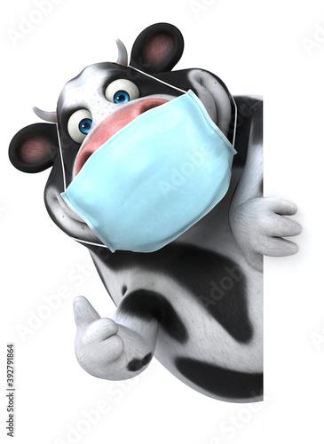 Obraz Fun 3D cartoon cow with a mask - fototapety do salonu