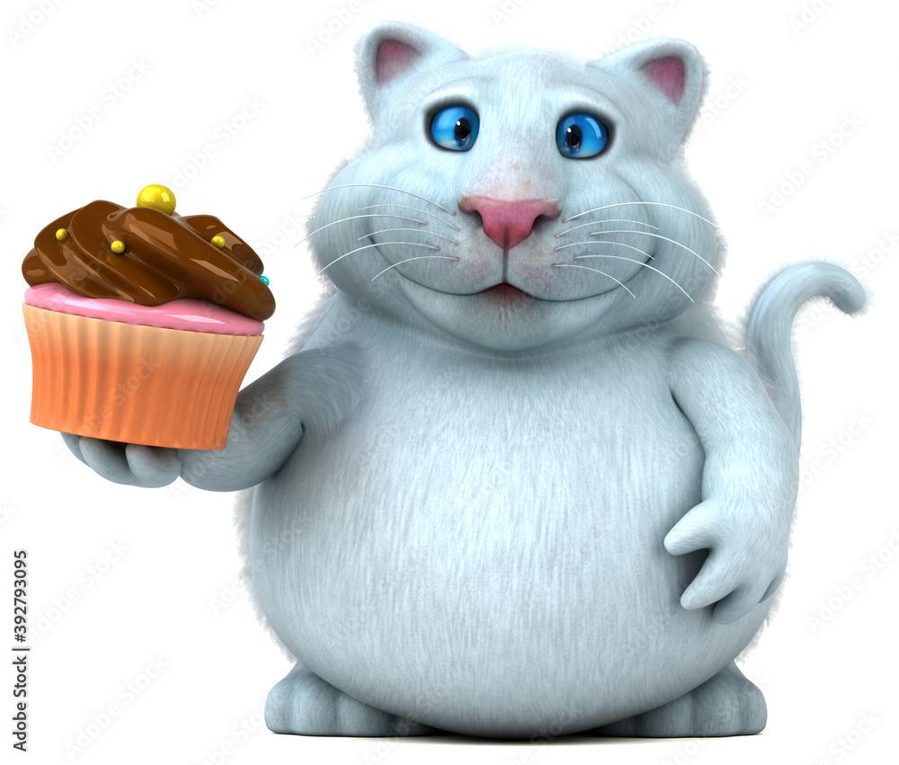 Fototapeta Fun cat - 3D Illustration