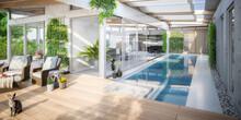 Luxury Residential Villa Terrace Design - Panoramic 3d Visualization