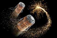 New Year Composition With Champagne Corks And Fireworks - 3D Illustration