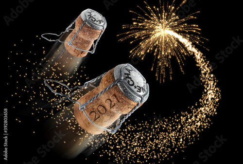 New year composition with champagne corks and fireworks - 3D illustration Wallpaper Mural