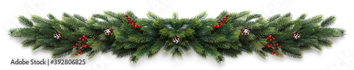 Obraz Christmas garland with red berries and cones - fototapety do salonu