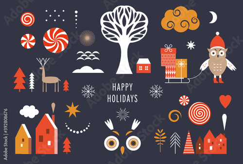 Set of graphic elements for Christmas cards. Cute owl , Christmas Trees, snowflakes, stylized gift boxes, winter houses, design elements