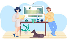 Girl Is Working On Laptop. Man Standing With Cards In His Hands. Periodic Table On The Wall. The Dog Lies Under The Table. Colleagues Communicate In The Laboratory. Study Of Chemistry In The Lab