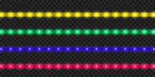 LED Strip Set. Colorful Realistic Illuminated Tape Decoration