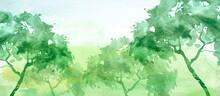 Watercolor Autumn Landscape. G...