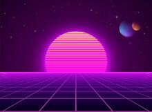 Neon Cyberpunk Futuristic Landscape. Sci-fi Background Abstract Digital Planet. Vector Illustration