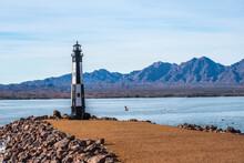 A Black And White Lake Havasu Lighthouse In Arizona