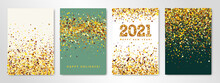 New Year Posters Set Of Four Sheets With Shimmer Gold Confetti And 2021 Numbers. Vector Flyer Design Templates For Invitation Cards, Business Brochure Design, Certificates. All Layered And Isolated