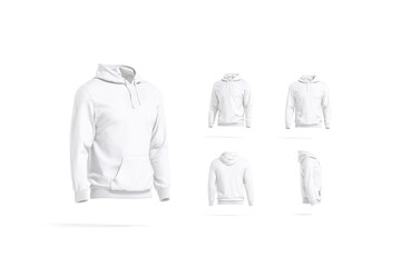 Blank white sport hoodie with hood mockup, different views