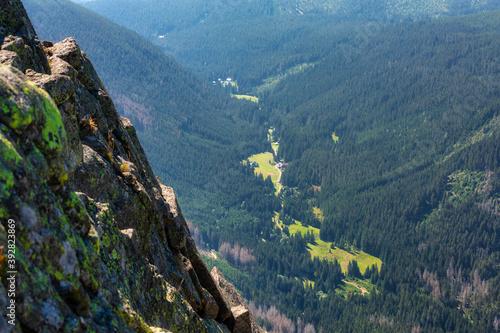 Fototapeta Mountain scenery of the Karkonosze Mountains from the top of Sniezka peak, Poland obraz
