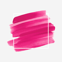 Bright Pink Logo Brush Stroke Painted Acrylic Background Vector Over Square Frame. Perfect Design For Any Creative Ideas.