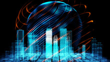 Digital Smart World Technology Motion Blur Smart City 3D Zoom Blur Architecture Building Iot Internet Of Thing Artificial Intelligence, Security Energy Power Tech Futuristic Background