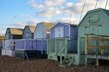Colorful Wooden Beach Huts At ...