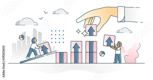 Obraz na plátně Productivity and work performance efficiency development outline concept
