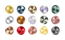 Metal Chrome Circle Badge Set. Vector Metallic Rose Gold, Bronze, Silver, Steel, Holographic Rainbow, Golden Buttons. Foil Shiny Color Design Elements For Background, Web, Apps