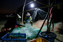 Fisher Man With Fisher Net At ...