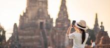Happy Tourist Woman Wearing Su...