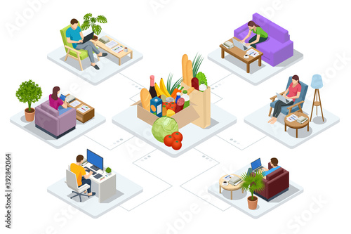 Isometric online shopping , online supermarket concept. People shopping food online using a laptop.