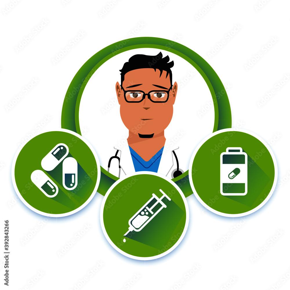 Fototapeta Wektorowy lekarz z zielonymi ikonami