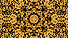 Abstract Concentric Yellow Kaleidoscope Background Pattern With Furred Elements